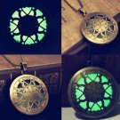 Vintage Round Luminous Glow In The Dark Hollow Flower Pendant Necklace