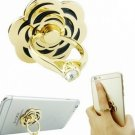 Golden Rose Crystal Metal Ring Holder Adhesive Stand For Mobile Phone Tablet