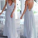 Women Stripe Strap Backless Long Maxi Dress High Waist With Belt