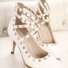 Pointed Toe Rivet Shallow Mouth High Heel Shoes