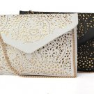 Hollow Shoulder Retro White Messenger Bags PU Leather Clutch