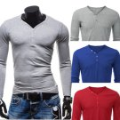 Mens Solid Color Casual Button V-neck Long Sleeve T-shirt