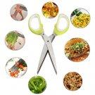 5 Blades Stainless Steel Kitchen Herb Craft Shredding Paper Cutting Scissors