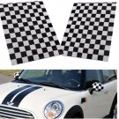 2Pcs Checkered Pattern Vinyl Side Mirror Stickers For Mini Cooper
