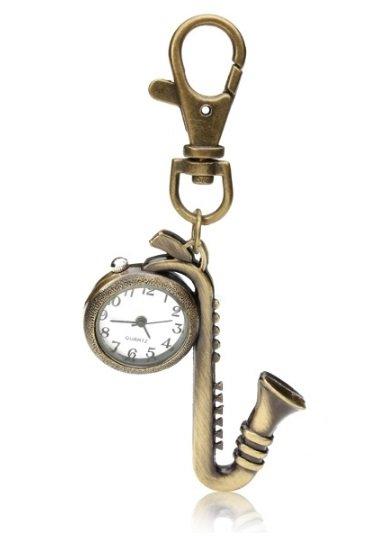 Vintage Bronze Saxophone Design Pocket Watch