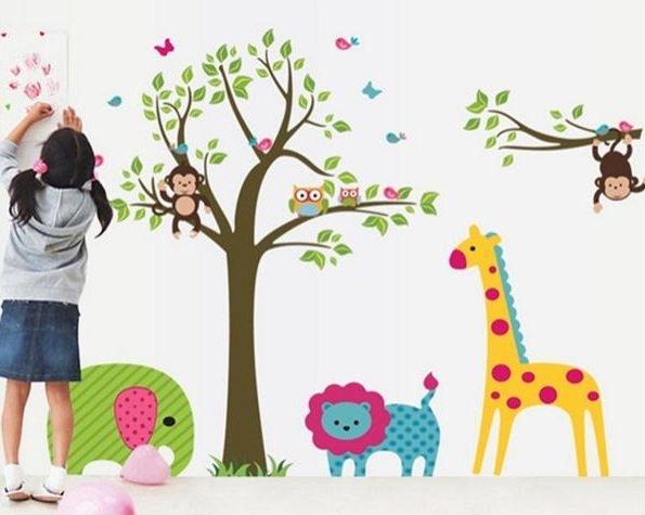 Removable Vinyl Animal Monkey Giraffe Jungle Wall Sticker Decal Paper Decor