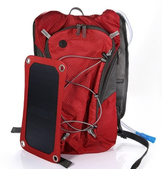 Outdoor Camping Solar Backpack Solar Hiking Bag 6.5W Solar Panel With 2.5L Water Bag