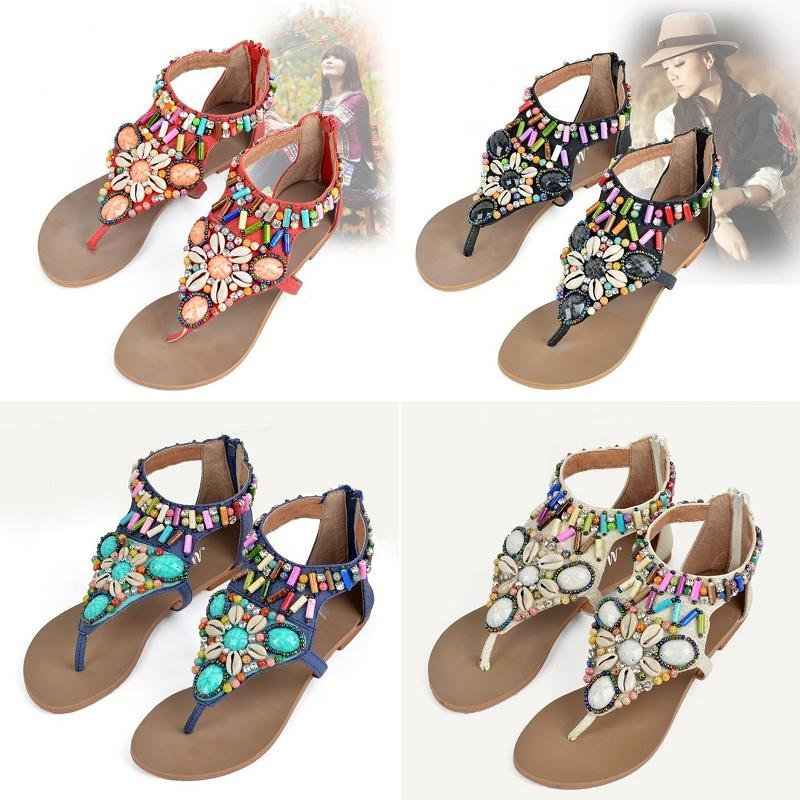 Womens Fashion Bohemian Beads Thong Toe