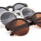 UV400 Women Sunglasses Half Frame Round Wooden