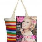 Canvas Handbags Shoulder Bags Ladies Stripe Tote Rainbow Shopping Bags