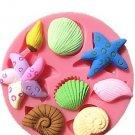 3D Silicone Seashell Starfish Sea Snail Fondant Cake Decoration