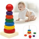 Kids Baby Toy Wooden Stacking Ring Tower Educational Toys Rainbow Stack Up Play