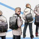 Men Campus Travel PU Leather Shoulders Bag Backpack School Bag