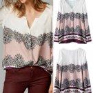 Boho Vintage Women Floral Print V Neck Casual Blouse Loose Long Raglan Sleeve Shirt