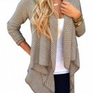 Women Loose Casual Crochet Long Sleeve Knit Cardigan Coat Knitwear Sweater