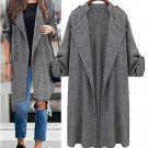 Women Cusual Long Sleeve Loose Pure Color Plus Size Cardigan