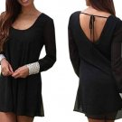 Women Black Long Sleeve Backless Chiffon Mini Dress