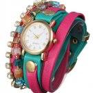 PU Leather Wrap Strap Rhinestone Bracelet Quartz Watch