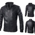 Mens Lining Black Motorcycle Washing PU Leather Jacket Stand Collar Slim Coat