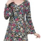 Women Vintage Floral Printed Back Lace Splicing Flare Sleeve Mini Dress