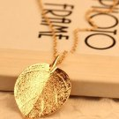Gold Plated Leaf Pendant Long Chain Necklace For Women