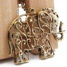 Vintage Elephant Pendant Necklace Long Chain