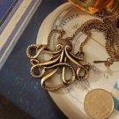 Vintage Bronze Octopus Alloy Pendant Necklace Chain