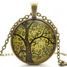 Vintage The Tree of Life Cabochon Bronze Alloy Chain Pendant Necklace