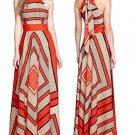 Geometric Halter Long Dresses For Women Boho Chiffon Maxi