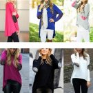Autumn Women Glitter Patchwork Elbow Slim Knit Blouse Sweater Tops Long Sleeve