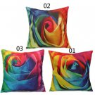 Abstract Art Rainbow Rose Flower Cotton Linen Pillow Case Home Sofa Cushion Cover