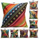 Colorful Geometric Pattern Cotton Linen Pillow Case Home Sofa Back Throw Cushion Cover