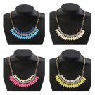 Leaf Statement Choker Necklace Gold Plated Women Jewelry