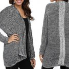 Sweater Grey Long Sleeve Thin Knitted Cardigan Irregular Winter Mix