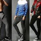 Casual Zipper Pocket Decoration Slacks Men Slim Sports Pants