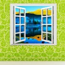3D Artificial Window Lake View 3D Wall Decals Mountain View Stickers Home Wall Decor Gift