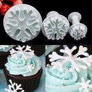 3PCS XMAS Snowflake Fondant Cake Cutter Plunger Gum Paste Decor Mold Sugarcraft