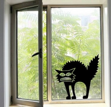 Halloween Scary Spooky Black Cat Wall Glass Sticker Halloween Decoration