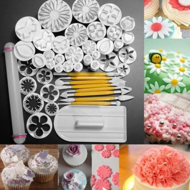 46Pcs Sugarcraft Cake Decorating Fondant Icing Plunger Cutters Tools Mold Widely