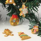 6 pcs Cute Gold Christmas Tree Keychain Hanging Ornament Polymer Clay Decoration