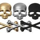 3D Skeleton Skull Bone Emblem Badge Logo Metal Sticker Decal