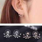 925 Silver Needle Leaves Cubic Zircon Crystal Stud Earrings