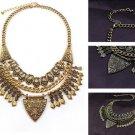 Vintage Carving Flower Tassel Collar Statement Necklace