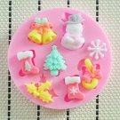 Xmas Snowman Bell Snowflake Silicone Cake Decorating Mold Fondant Bake Tool