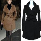 Ladies Wool Double-Breasted Coat Winter Trench Outwear Jacket Fashion
