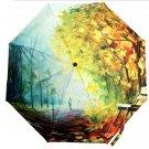 Autumn Leaves Anti UV 3 Floding Oil Painting Clear Rain Bumbershoot Umbrella
