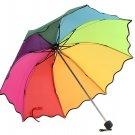 Multi Color Flouncing Dome Parasol Folding Sun/Rain/Wind Umbrella