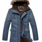 Men's Winter Cotton Thicken Warm Coat Hooded Drawstring Long Outdoor Overcoat
