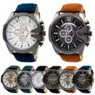 Men Chic Big Dial Leather Stainless Steel Analog Quartz Sports Wrist Watch Round