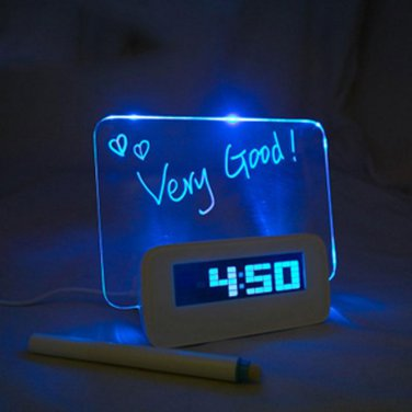 Digital Snooze Alarm Clock Calendar 4 Port USB Hub Memo Message Board + Pen